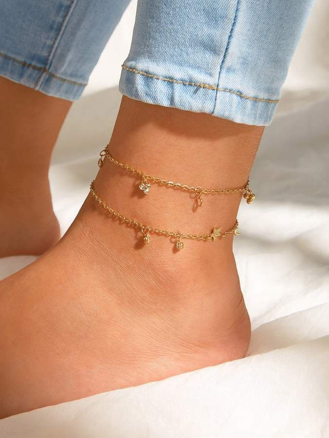 Photo of Shein Rhinestone Engraved Star Chain Anklet 2pcs