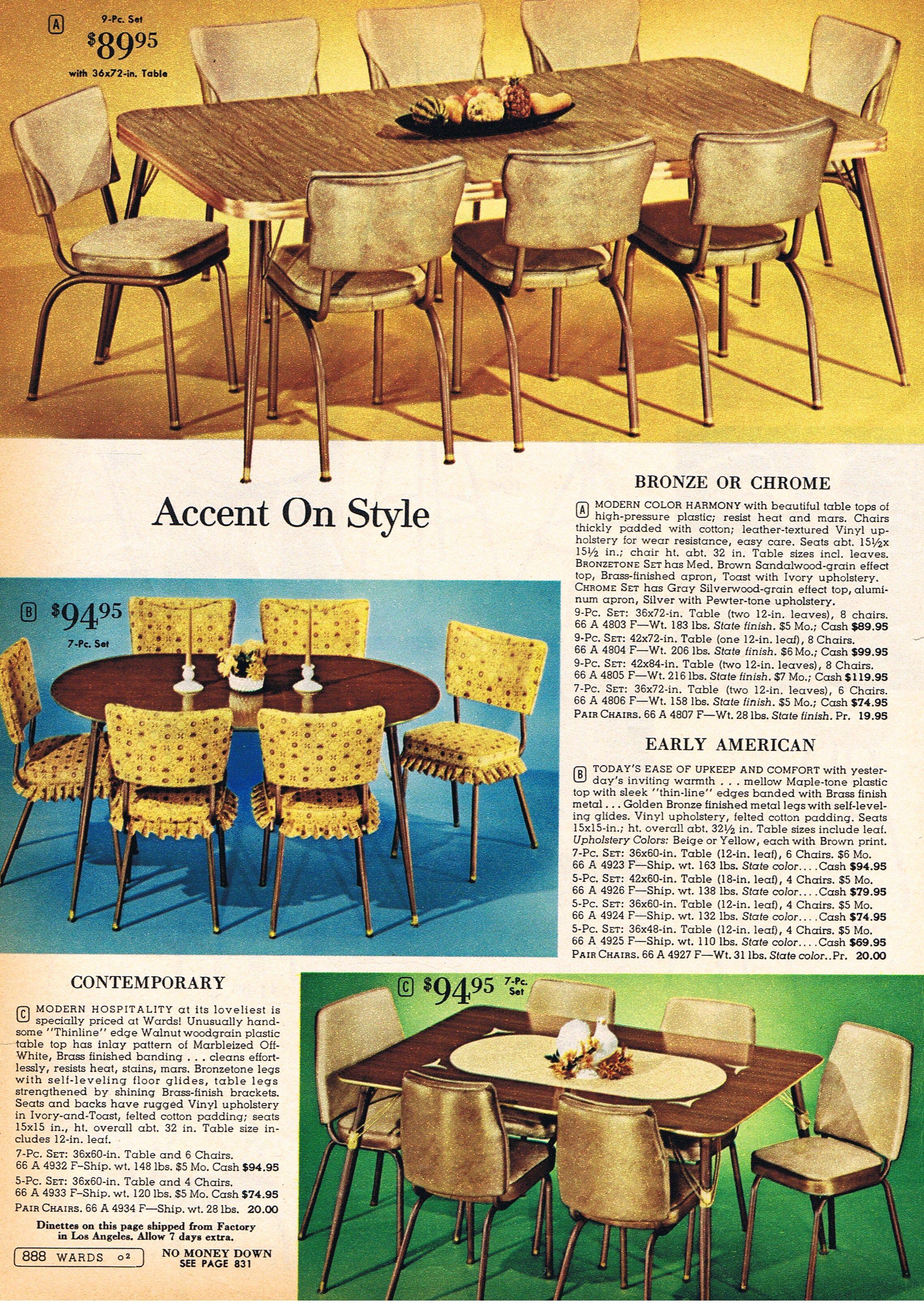 Montgomery Ward dinette sets 1962