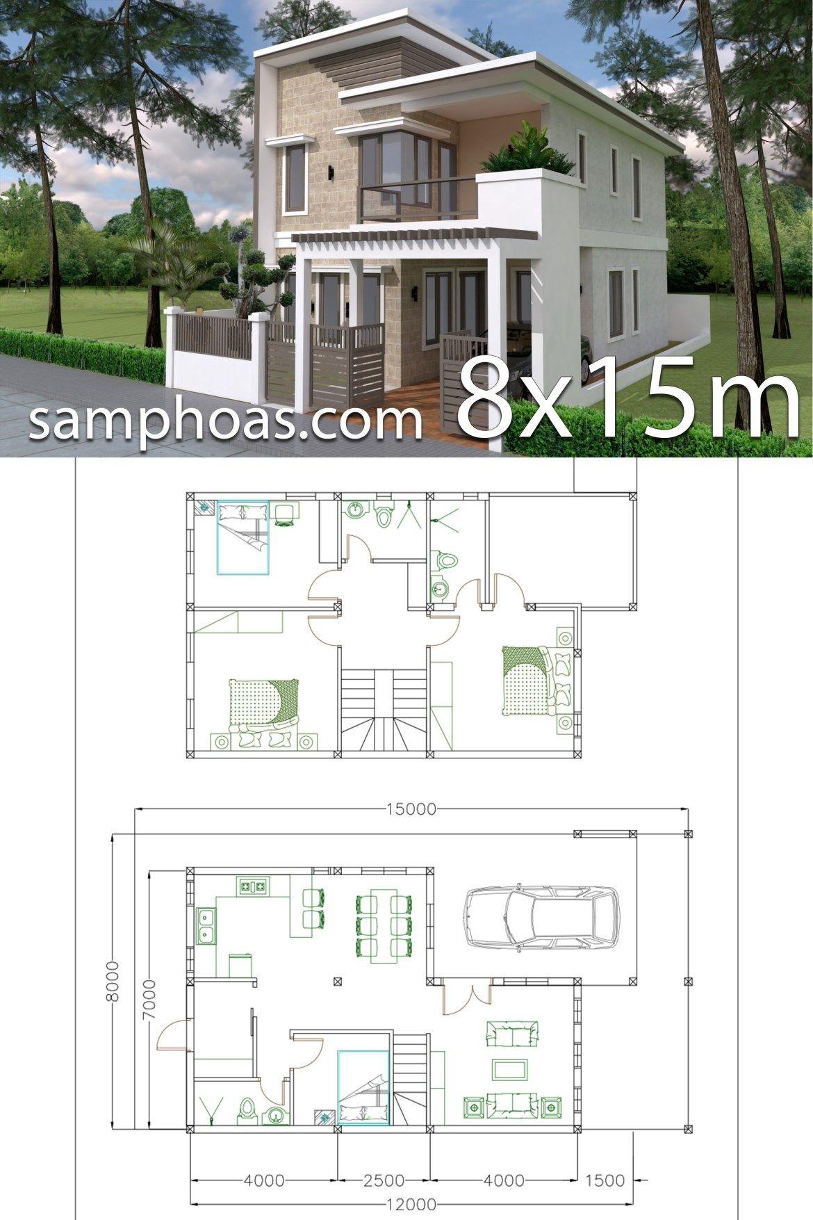 Home Design Plan 7x12m With 4 Bedrooms Plot 8x15 Samphoas Plansearch Home Design Plan House Construction Plan Model House Plan