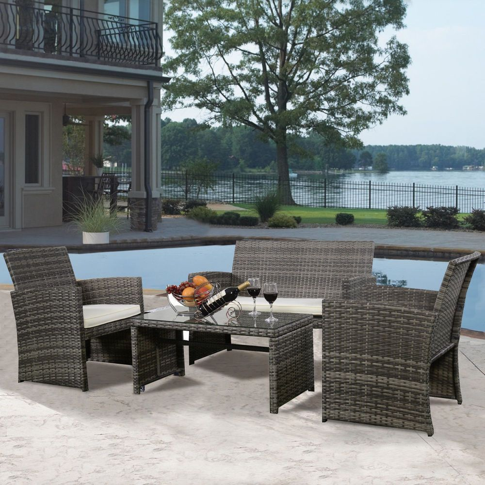 9 PC Wicker Rattan Patio Furniture Set Garden Lawn Sofa Cushioned
