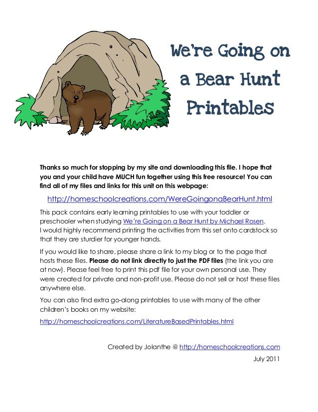 We Re Going On A Bear Hunt Printable Where Si The Bear Bear