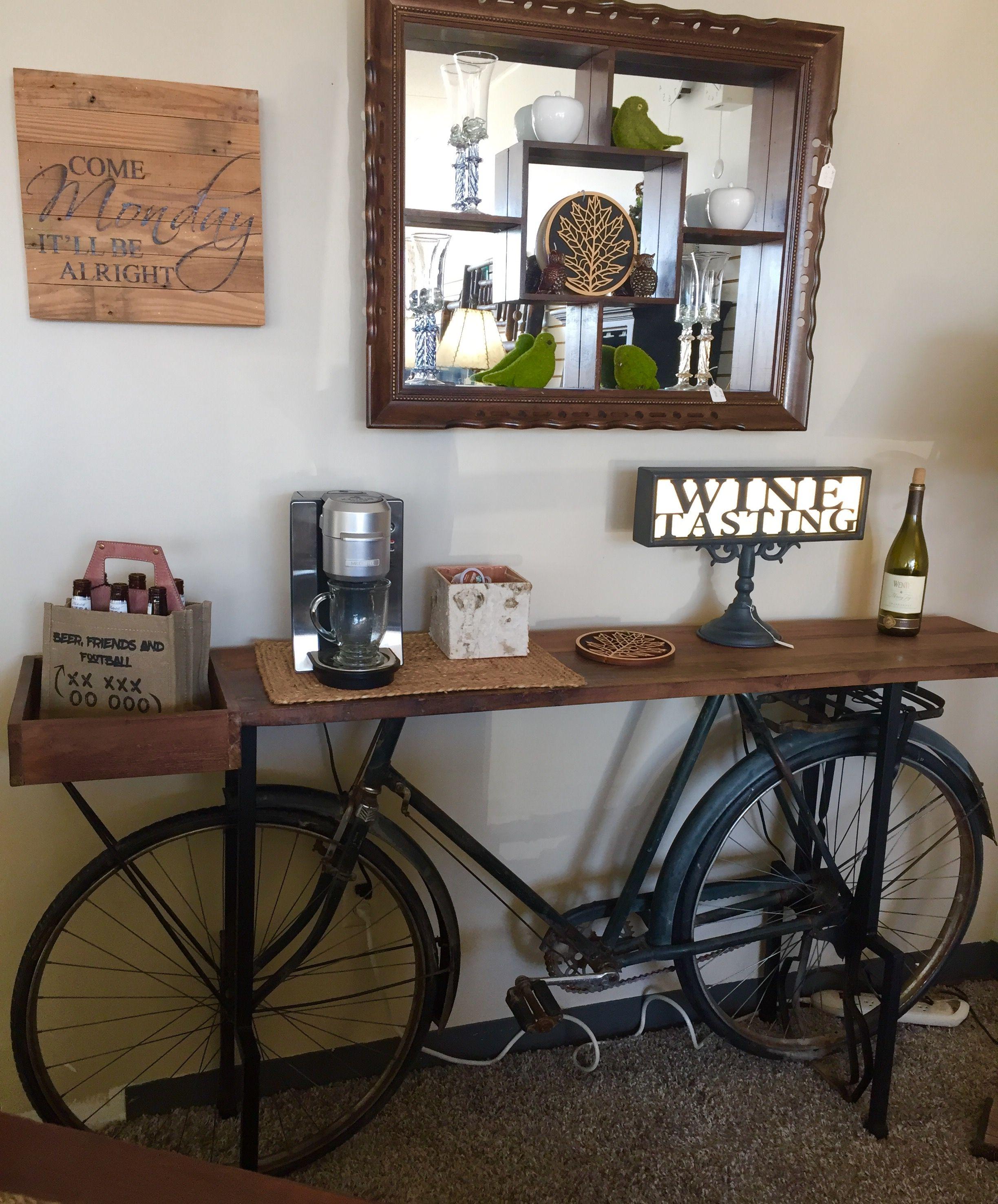 Recycle bicycle barwine anyone?  Bicycle decor, Vintage