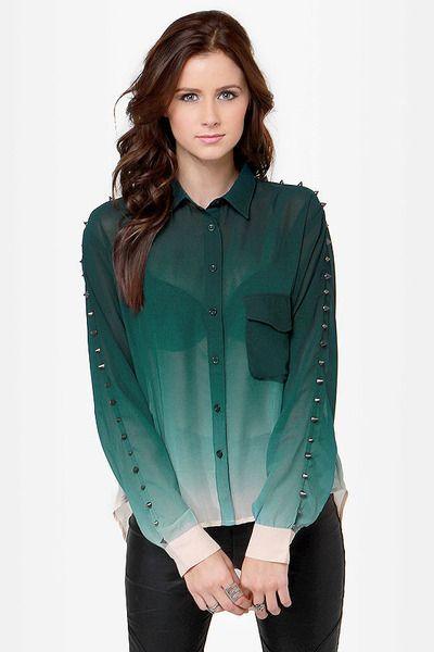 studded green ombre shirt