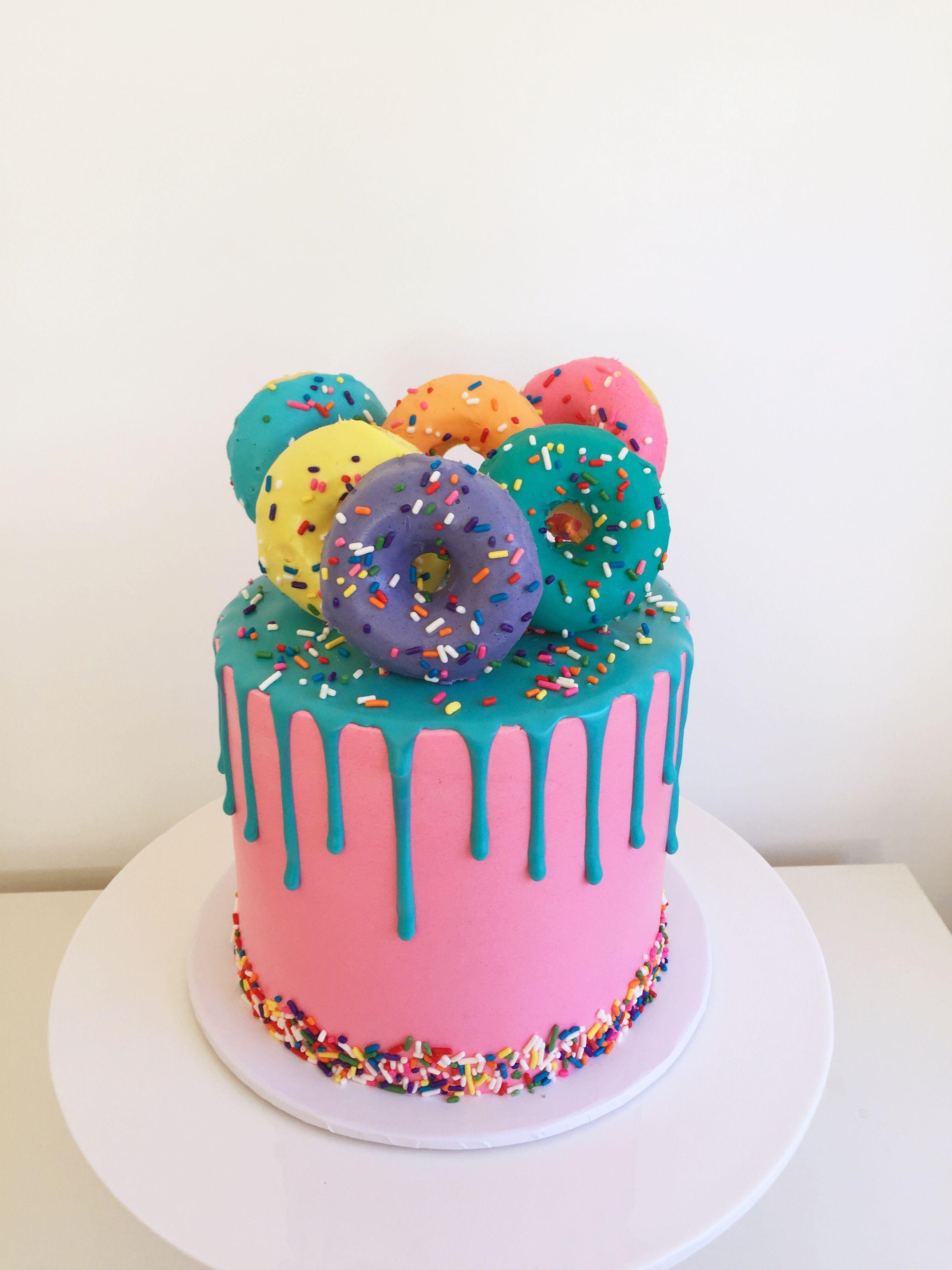 Donut Drip Cake Dripcake Swissmeringuebuttercream Mudcake Rainbowcake Girlsbirthdaycake