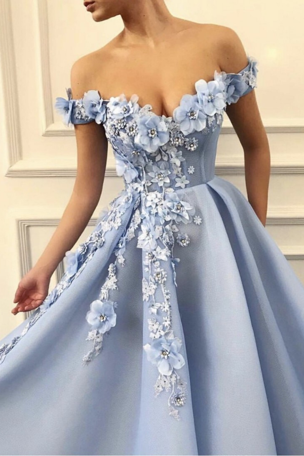 SWEETHEART BARDOT FLORAL APPLIQUES PROM DRESS