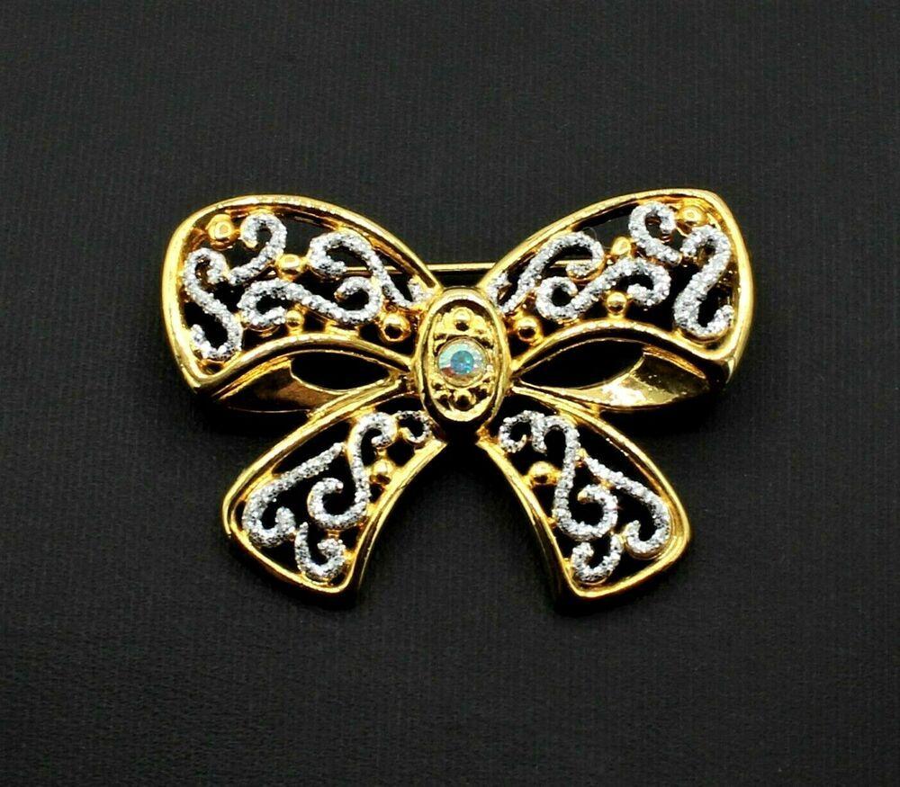 Signed 1928 Goldtone Rhinestone Butterfly Bar Brooch Pin