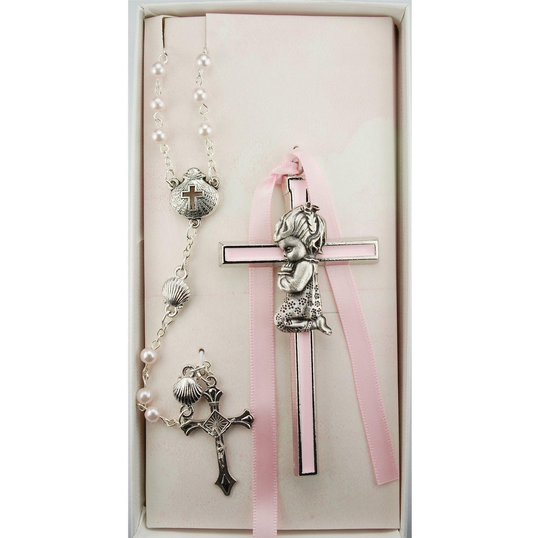 Pink Crib Cross and Pink Rosary Set Boxed Pink crib