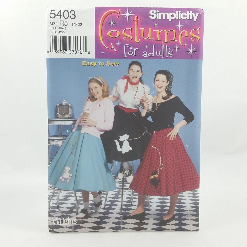 Simplicity 5403 Ladies Plus Size Poodle Skirt Costume Pattern Sz 14