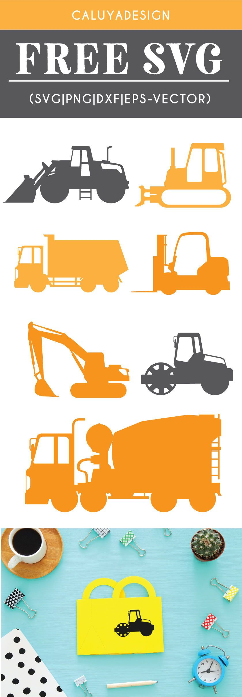 Photo of Free Construction Vehicles SVG, PNG, EPS & DXF by Caluya Design