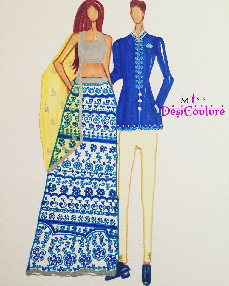 My first couple illustration, featuring blues hues. A silver metallic blouse, fully printed lehenga paired with a yellow embroidery dupatta. Blazer kurti with embroidery amd ivory coloured skinny pants.  #indiancouture #desicouture #indianwear #wedding #indianfashion #fashionista #customindianwear #allthingsindian #illustration #lehenga #bridal #couture #ootd #aw15 #igers #instagood #asianbride #bollywood #love #stunning #amazing #missdesicouture #blogger