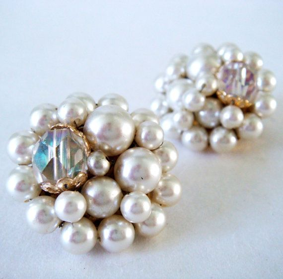 Vintage White Earrings 60s Faux Pearl Cer Bead Clip And
