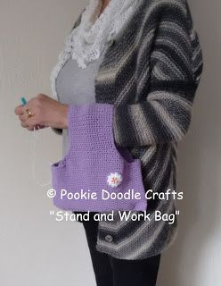 Pookie Doodle Crafts: Stand and Work Yarn Holder Bag - Crochet Tutorial #diyyarnholder