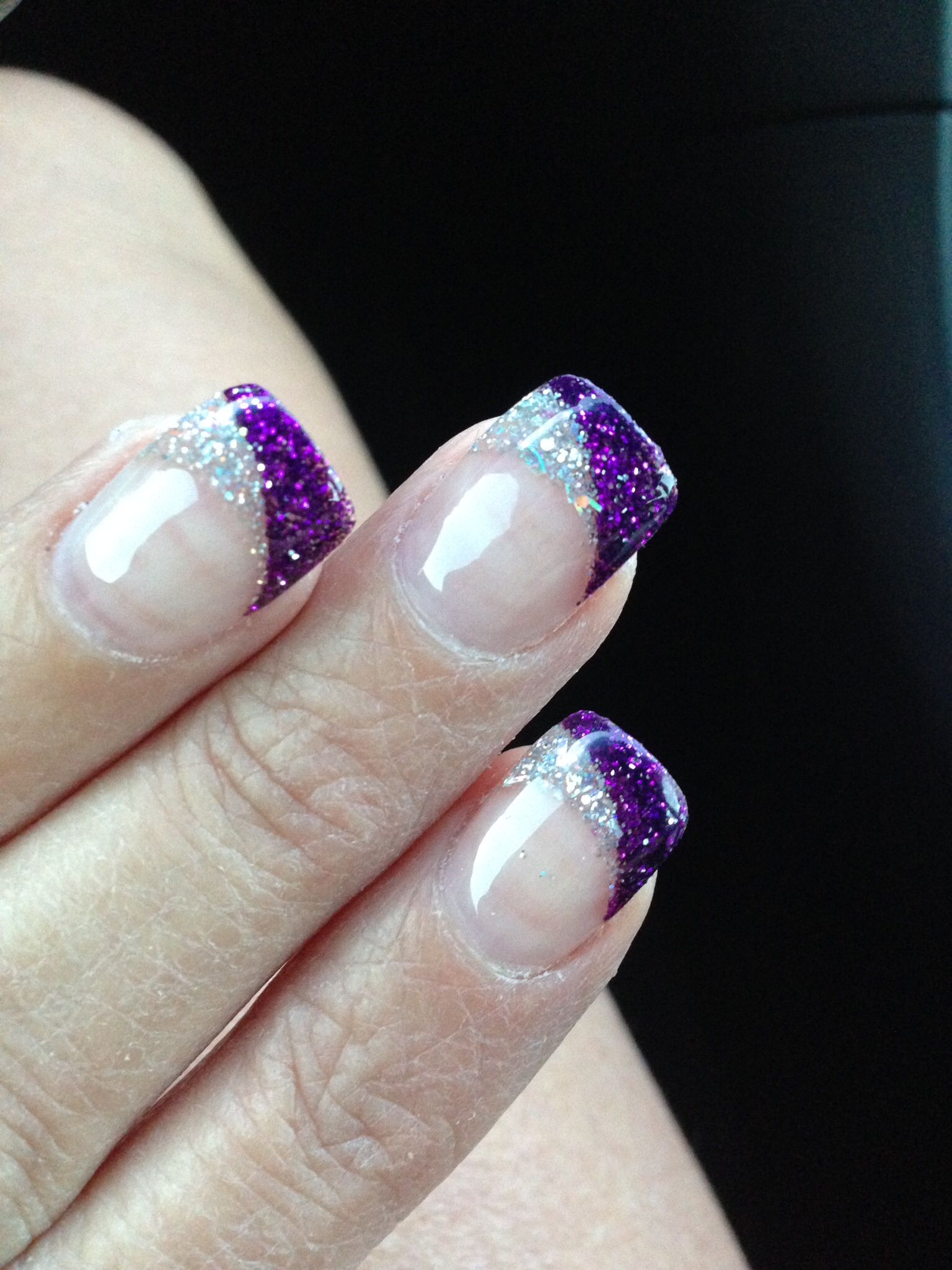 Purple solar nails with a silver and purple ring finger design ...