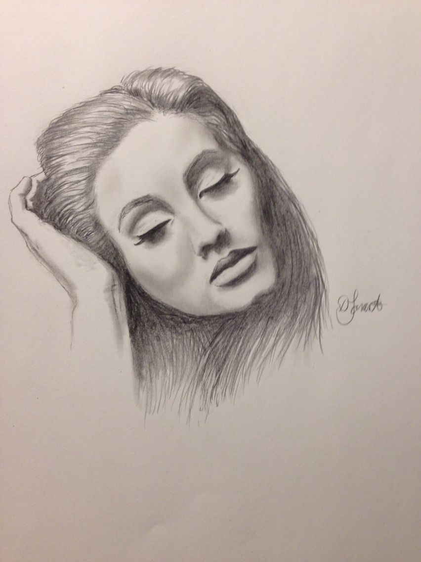 Singer Adele drawn in graphite by Donna Taranto