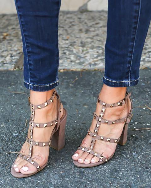 studded suede heel. lurve the block heel.