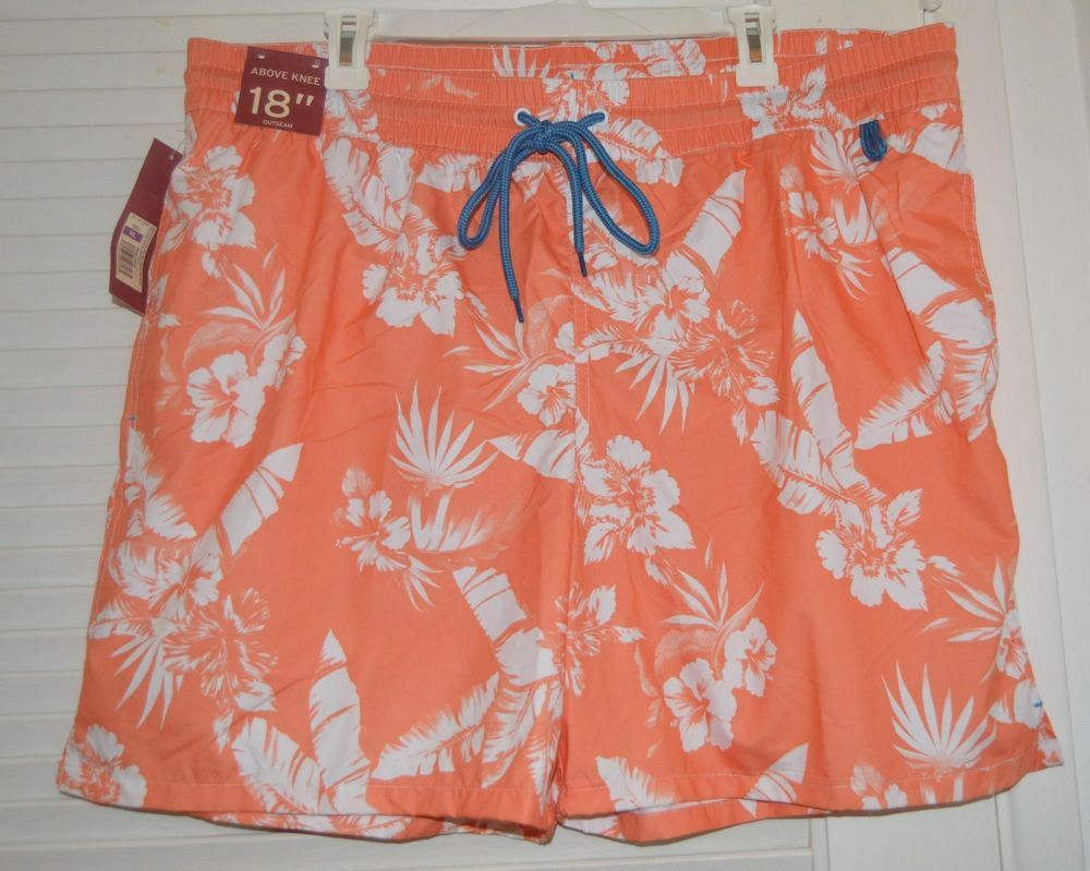 19debc1934 MERONA Mens ORANGE WHITE Floral Hawaiian Mesh Lined Swim Trunks Shorts XL  NEW #Merona #Trunks | Mercedes' Fabulous Finds | Pinterest | Swim trunks,  Swimming ...