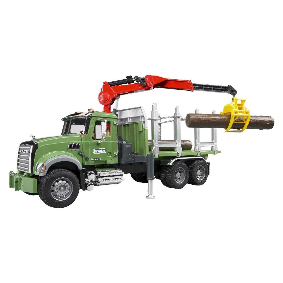 Bruder Mack Granite Timber Truck With Loading Crane And 3 Logs Trucks Toy Trucks Mack