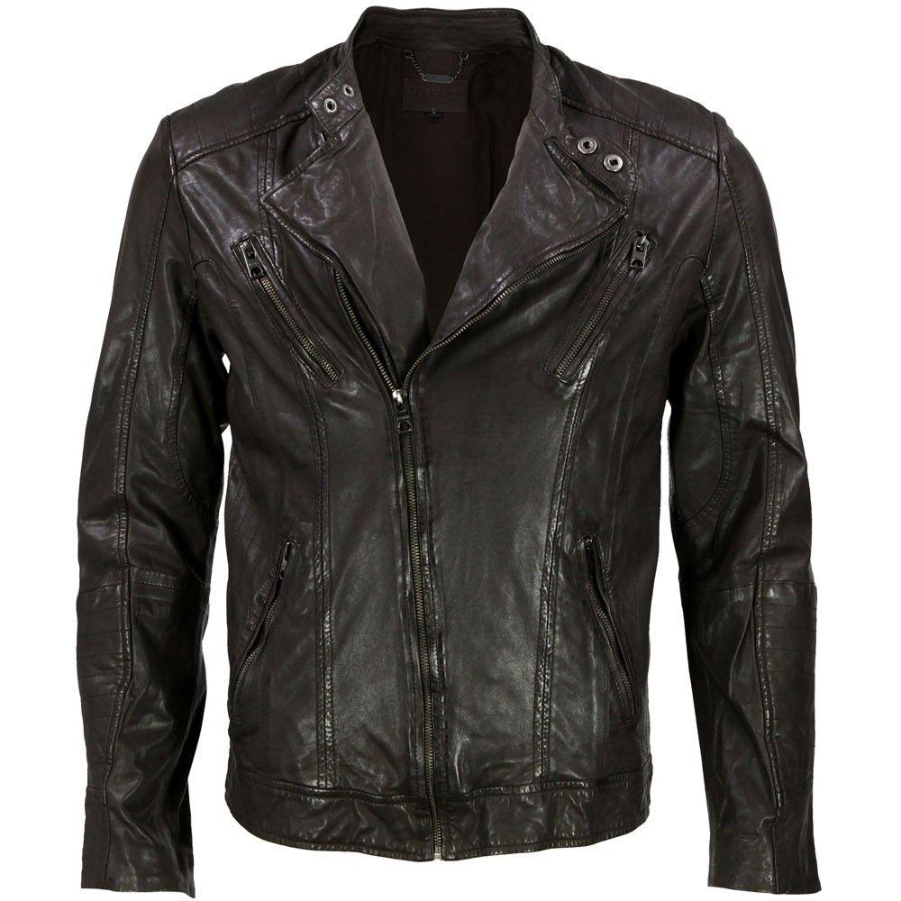 Mens Brown Slim Fit NZ Lambskin Leather Biker Jacket