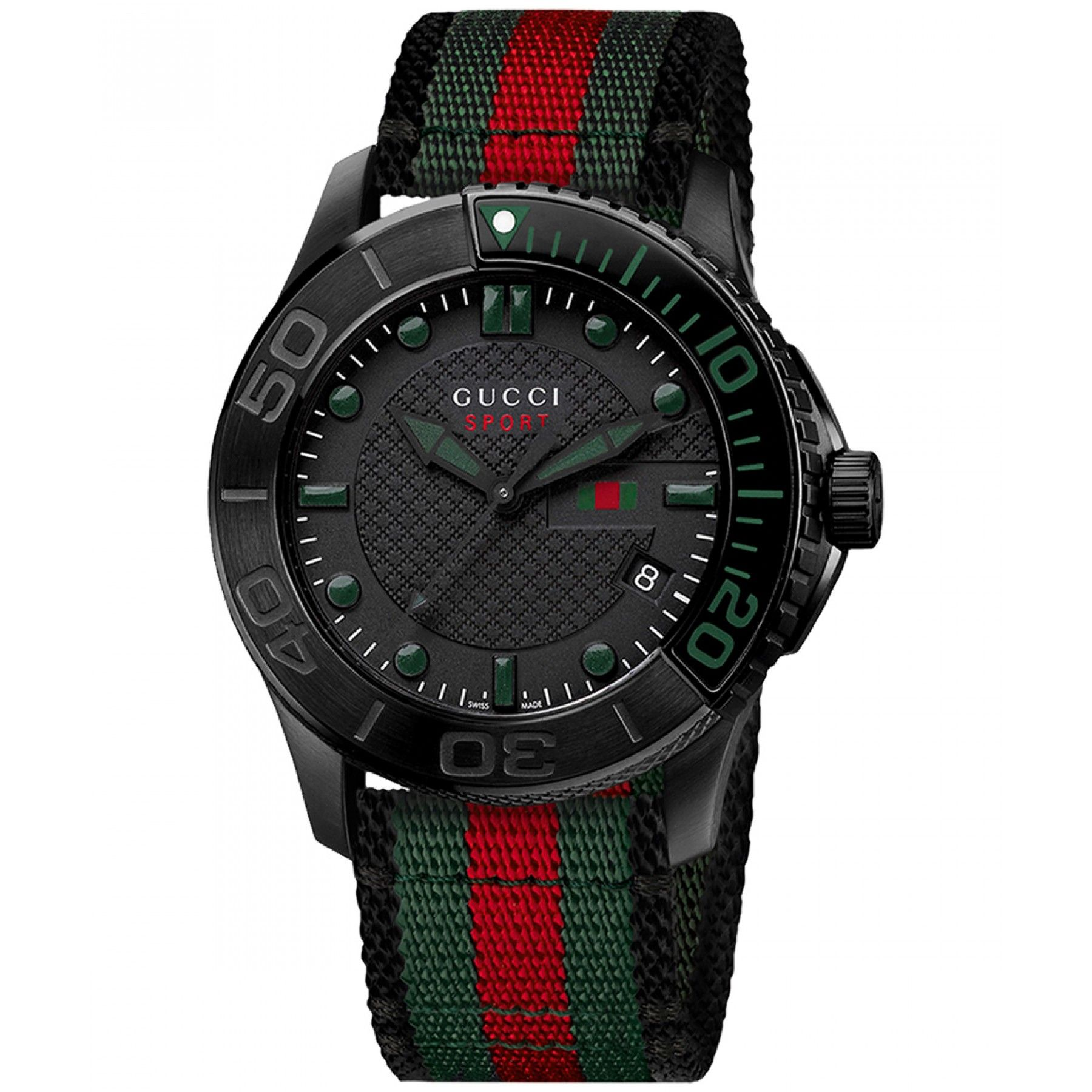 1c264d4233737 Reloj Gucci Timepieces de caja circular en PVD bisel giratorio y extensible  de tela en diseño