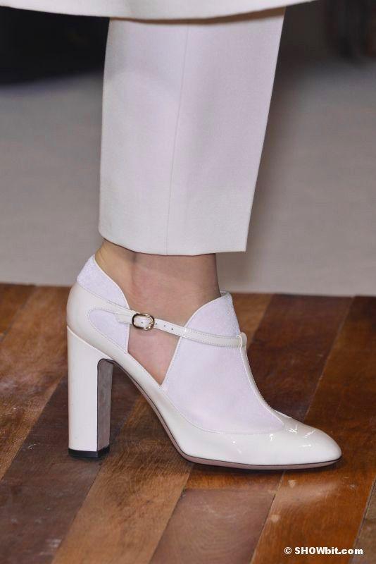 Valentino trompe l'oeil T-strap effect on white patent leather heel