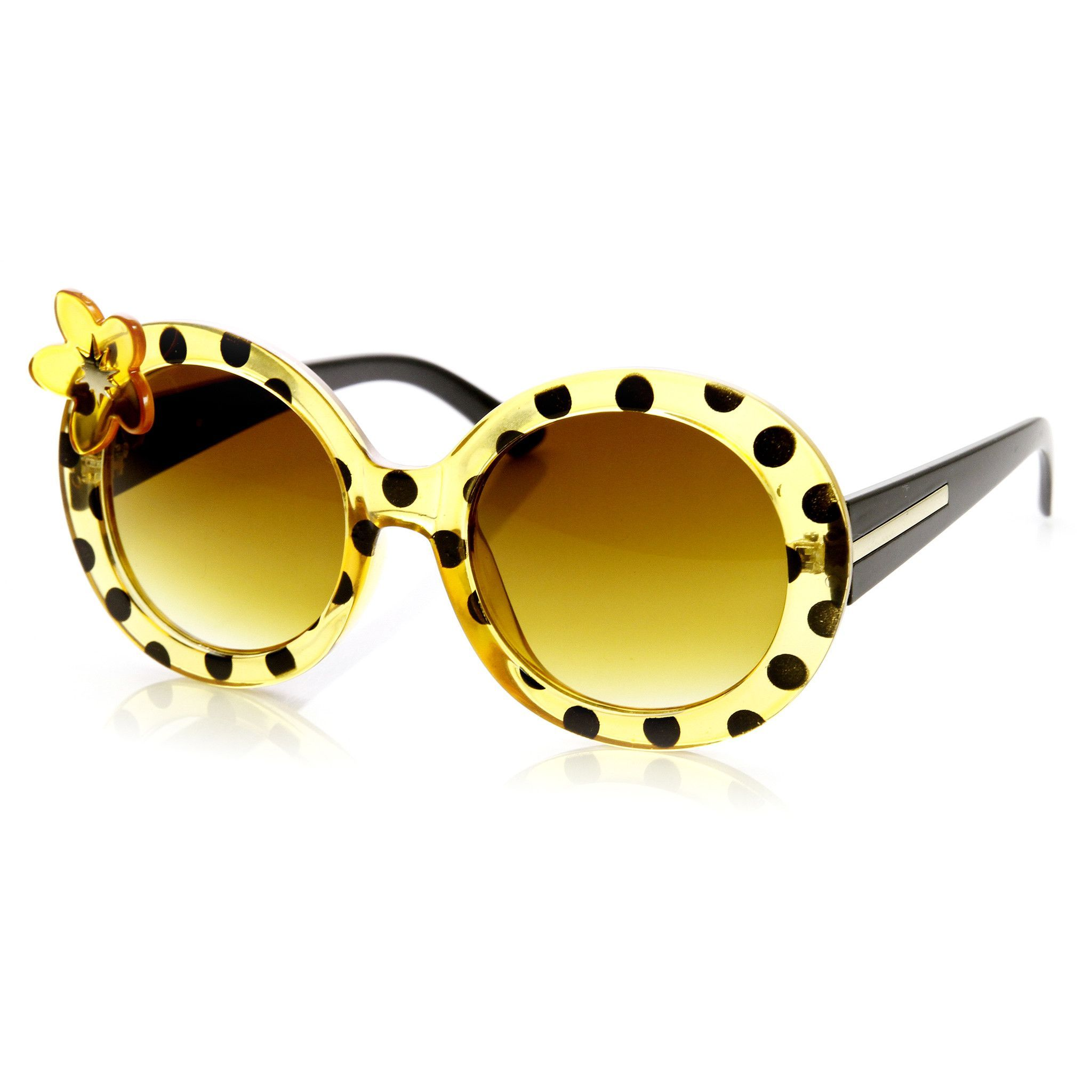 Womens Oversize Round Flower Lady Bug Print Sunglasses 9335
