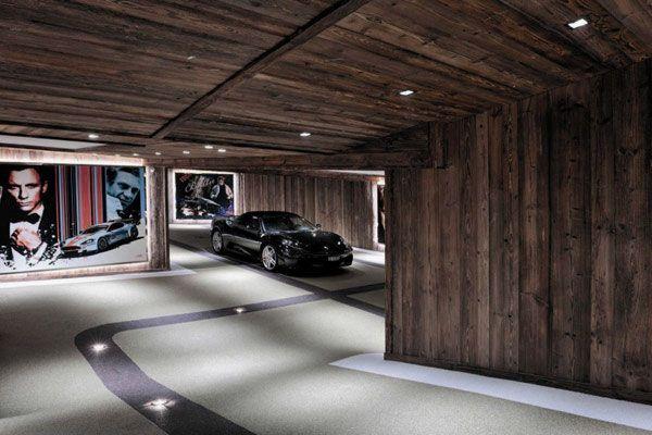 Fancy Underground Parking Area For Wooden Villa Design Ideas