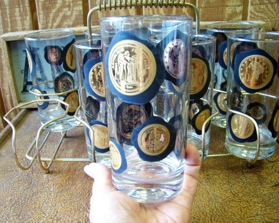 Vintage Barware Set Set of 8 Tumblers  Highball by tithriftstore