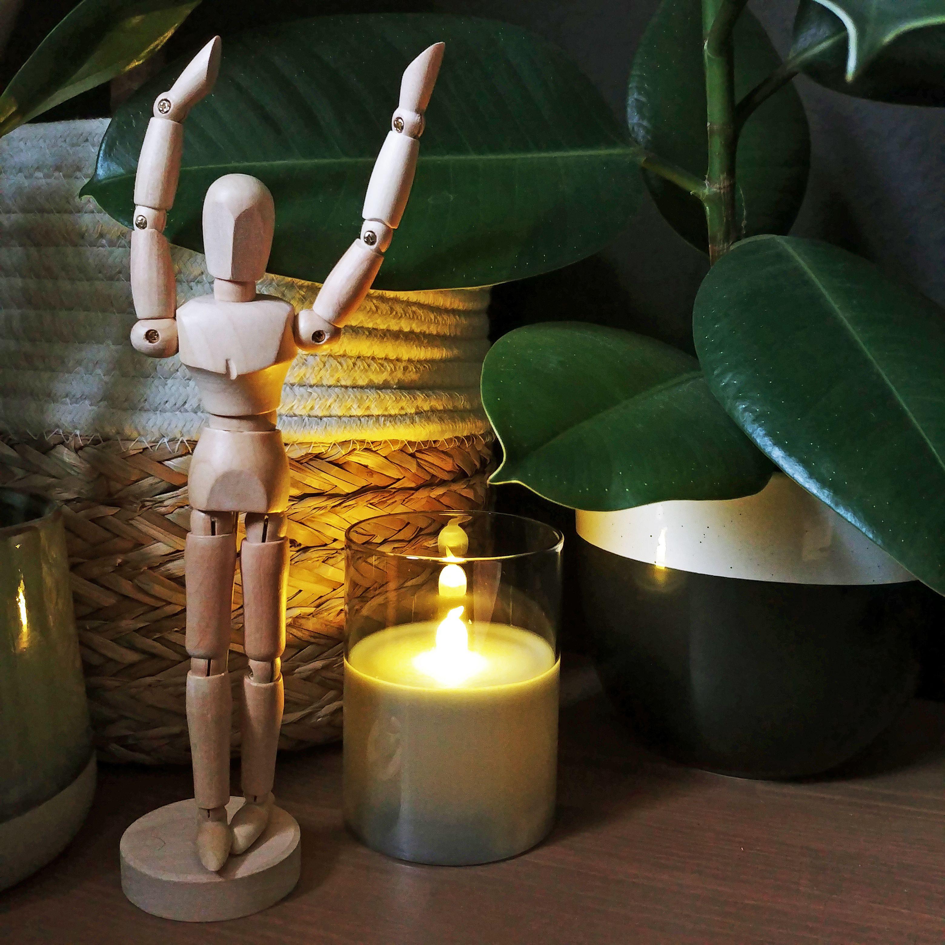 Classy Smokey Candle Wachskerze 3er Set Batterie Grau Weiss Glas Wachs Led Kerzen Kerzen Led