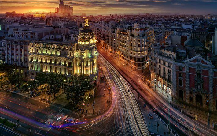 Download wallpapers Madrid night Metropolis city lights street