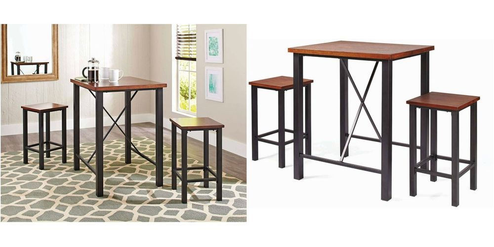 3 Piece Pub Set Breakfast Bistro Bar Counter Height Dining Table
