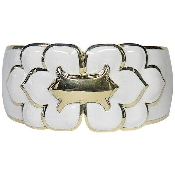 Preowned David Webb White Enamel Gold Cuff Bracelet (€28.705) ❤ liked on Polyvore featuring jewelry, bracelets, white, gold cuff bracelet, bangle cuff bracelet, 18k gold jewelry, gold cuff bangle and white gold jewelry