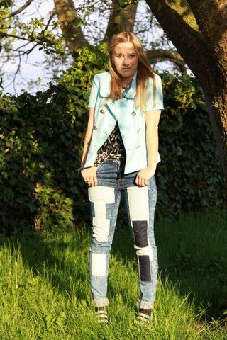Versace Jeans,Sexy   Patchwork Jeans, Versace Jacket - Blue like the Ocean  - Cucu . 25415446d3b