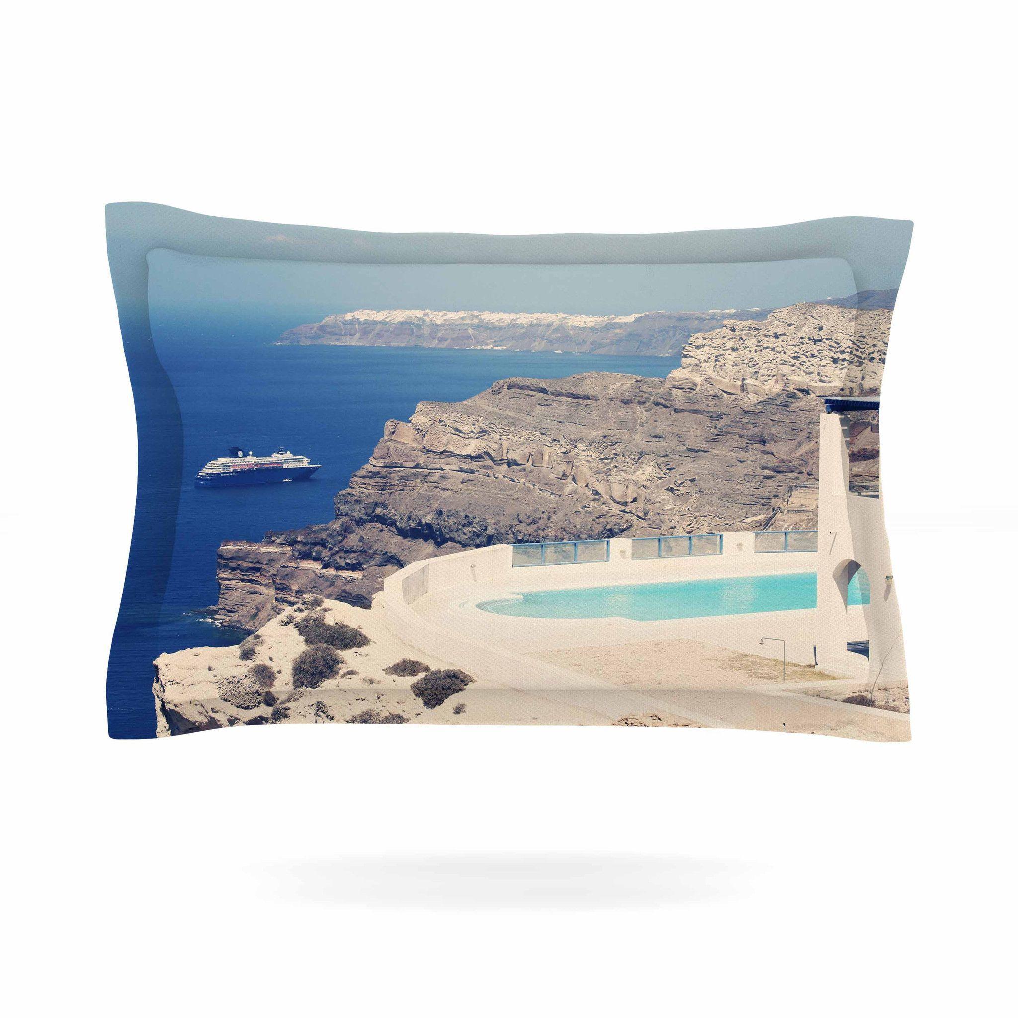 "Sylvia Coomes ""Greek Paradise"" Blue Tan Pillow Sham"