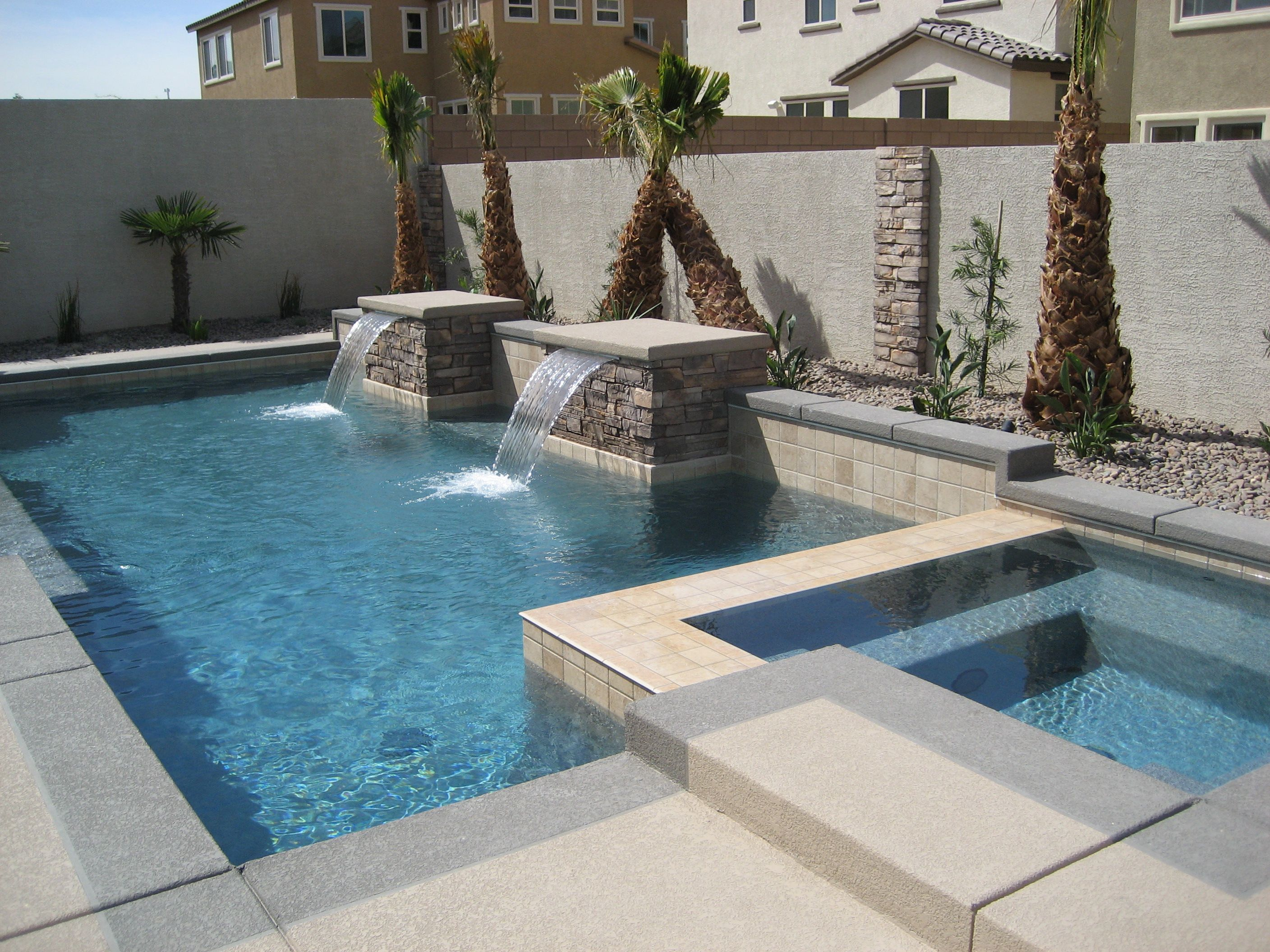 Geometric design pool and spa with water features | Geometric Pools ...