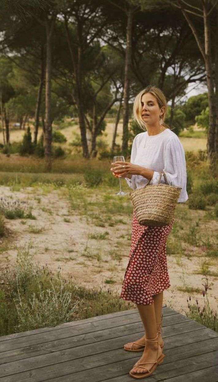Red Midi Skirt + White Blouse | insta - @emmyromack #travelwardrobesummer