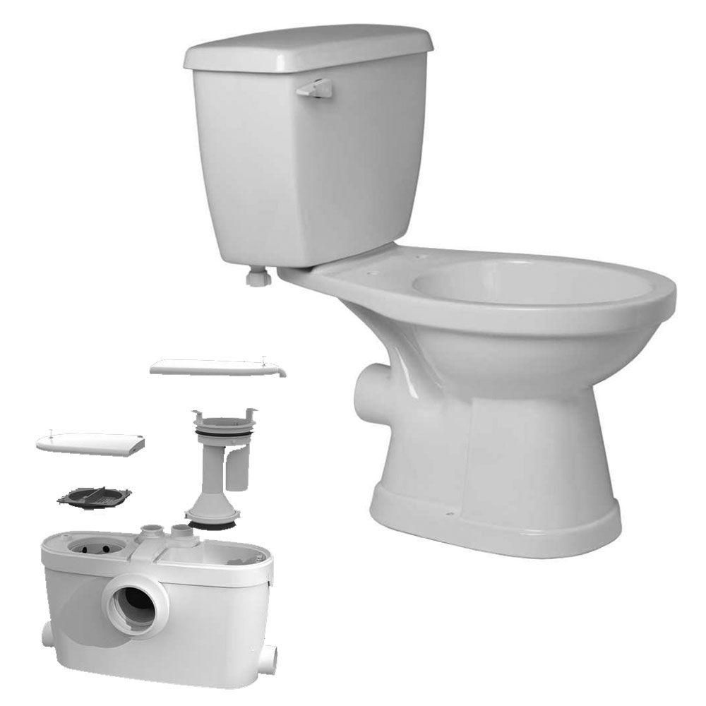 Saniaccess3 2 Piece Round Toilet With 5 Hp Macerating Pump In White By Saniflo 082 005 003 The Home Depot Sophisticated Bathroom Toilet Kitchen Faucet