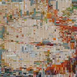 January, 54in x 72in, found postcards, junk-mail, paperback book covers, cut and adhered to 9 cradled hardpanels, 2010