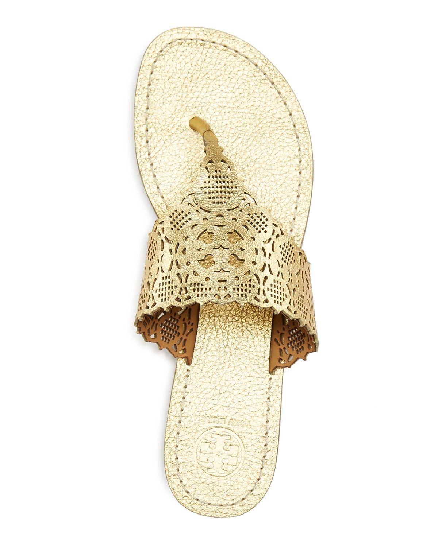 c32a2caec85e7 Tory Burch Roselle Metallic Cutout Thong Sandals