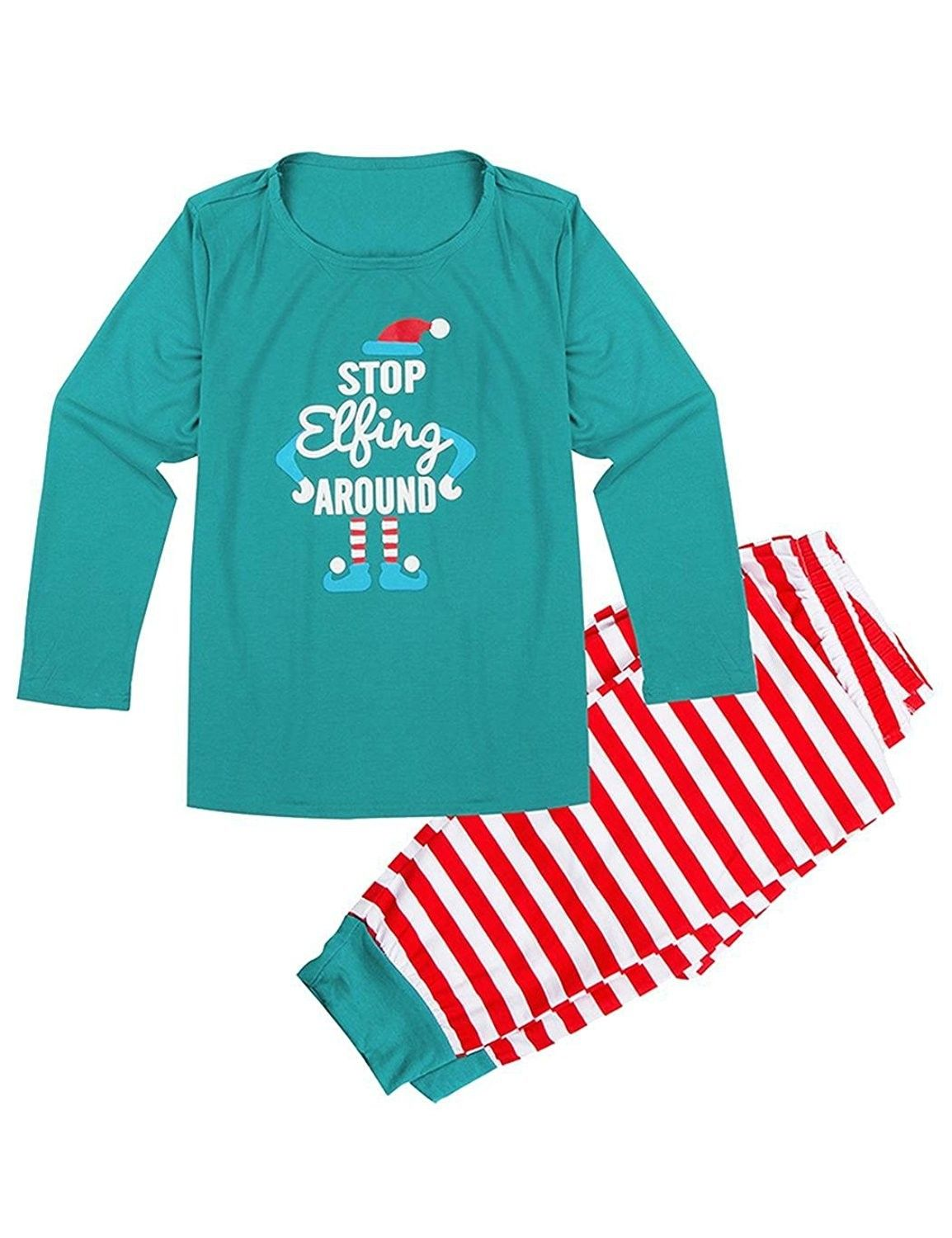 299a1862b6 Pajamas Set Cotton Striped Christmas 2 Pieces PJS Sleepwear For Family Dad  Mom Kids - Green Tops_women's - CR187T7Y6H0,Women's Clothing, Lingerie, ...