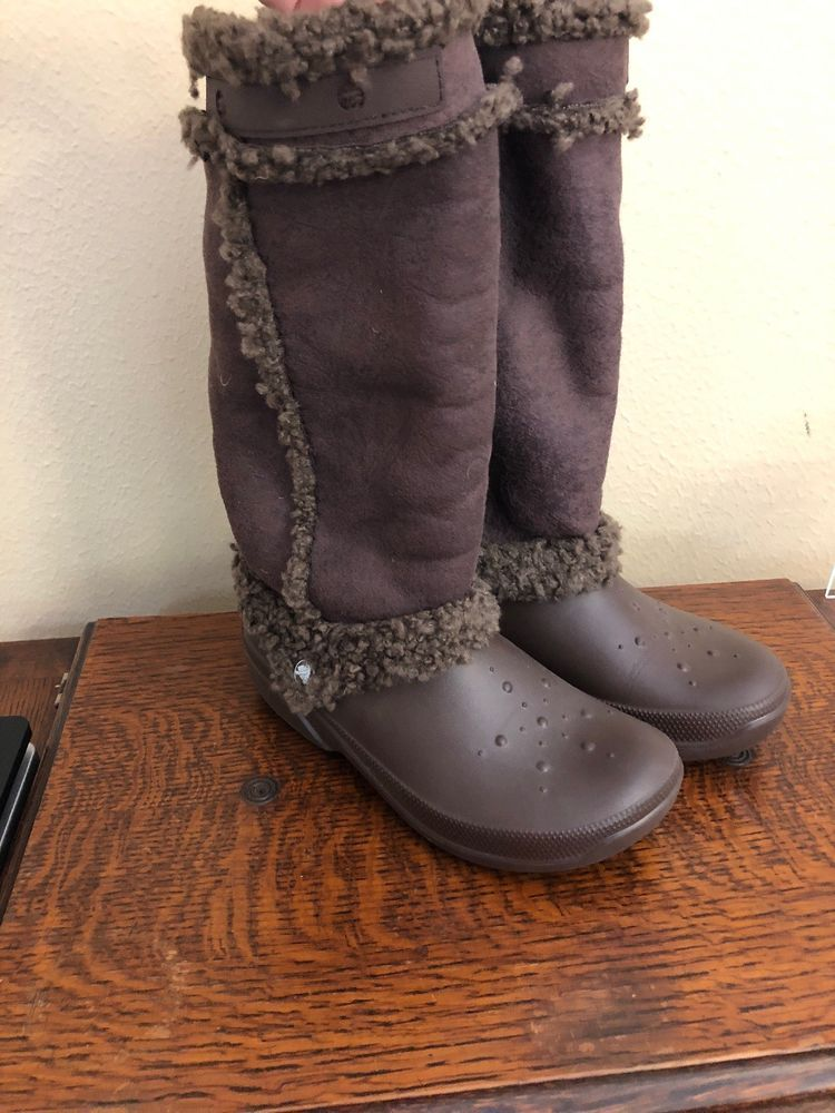 e21b1ba8ade421 Crocs 8 Nadia brown tall croslite rubber fur boots Womens Sherpa lined   fashion  clothing  shoes  accessories  womensshoes  boots (ebay link)