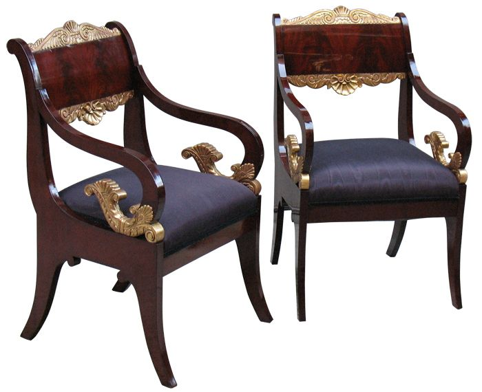 Rare Pair Of Exemplary Russian Empire Arm Chairs. Mahogany Veneered On  Pine, Shoulder Boards In Book Match Pattern. Fine Detailed Gilt Wood  Carvings.