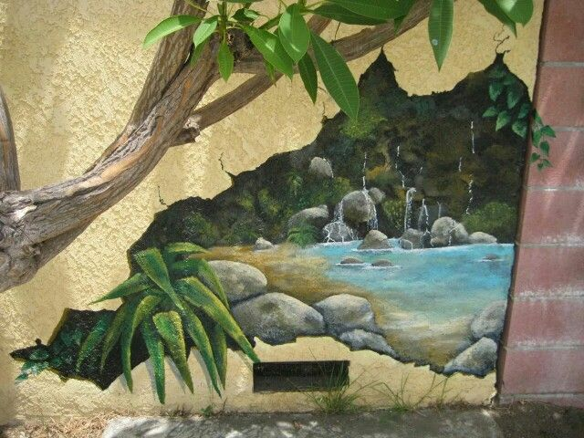 Outdoor Trompe L'oeil Hand Painted Wall Mural At Poolside On Stucco Wall. Garden And Outdoor