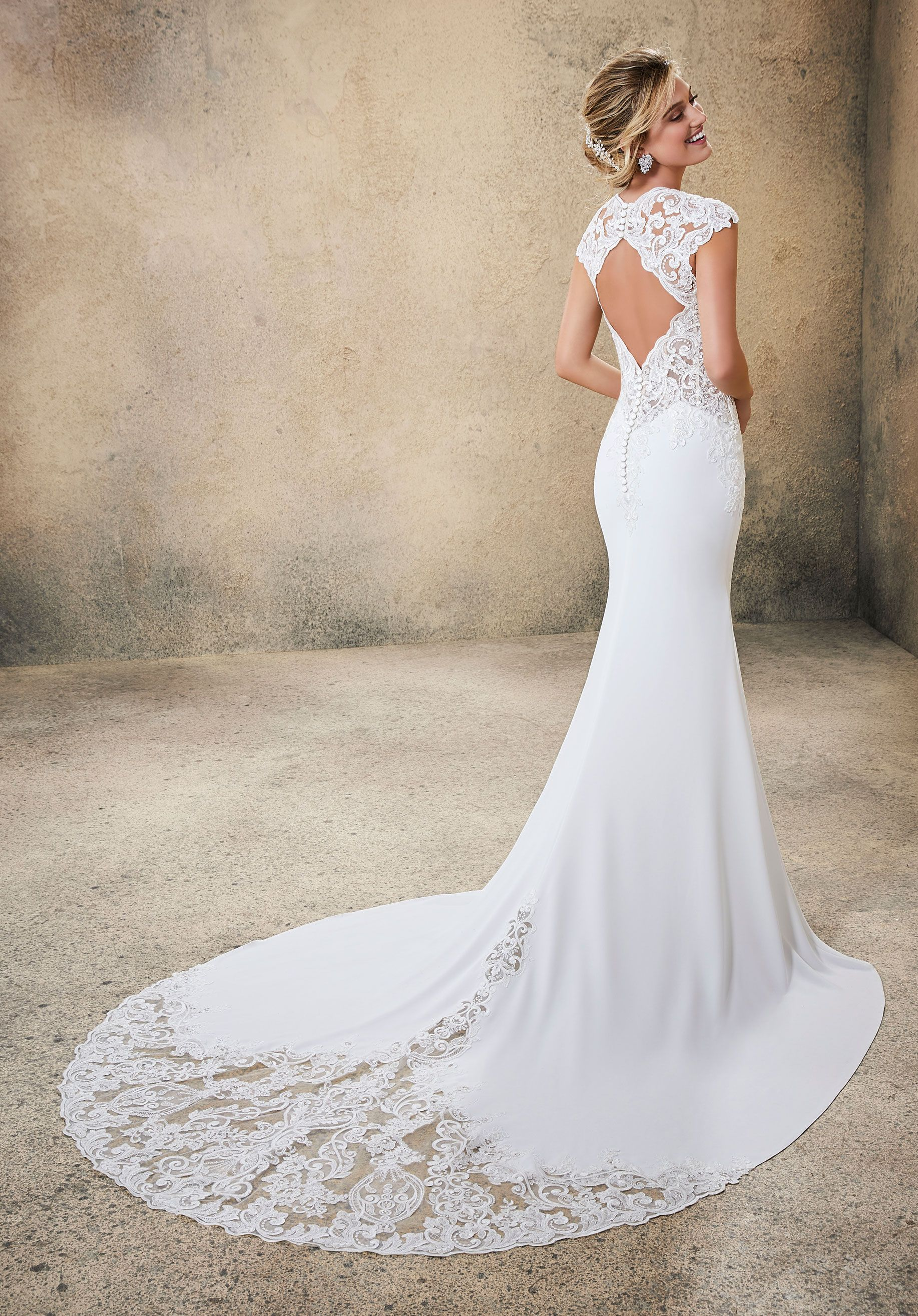 Open Back Crepe Wedding Gown Form Fitting Wedding Dress Spring Wedding Dress Wedding Dresses