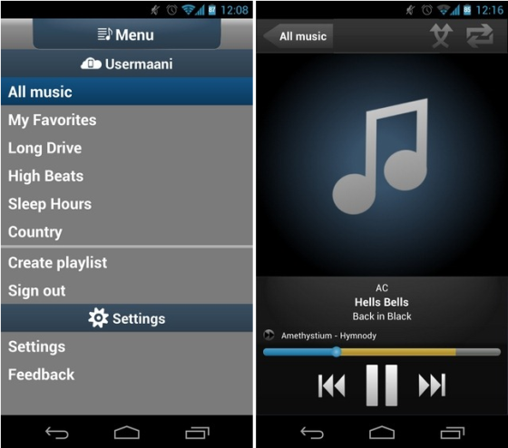 Get cool apps for your Android phones to access your music in cloud