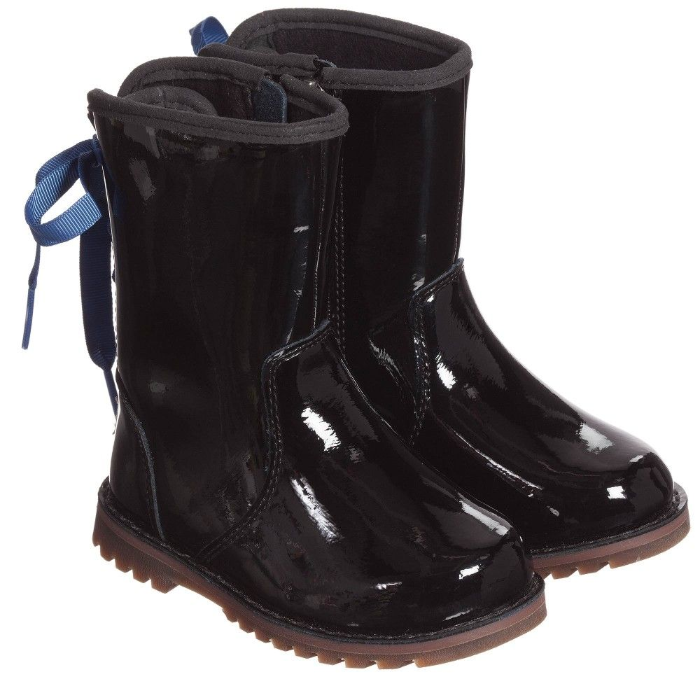 Girls Black 'Corene' Patent Leather Boots, Ugg Australia, Girl ...
