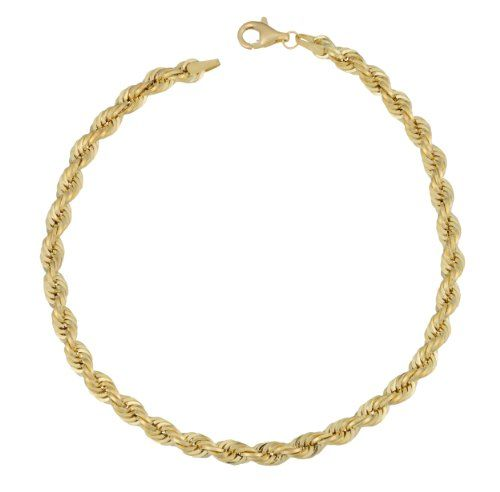 10 Karat Yellow Gold 4 Mm Rope Bracelet 8 Inch Gold Rope Bracelet Bracelets