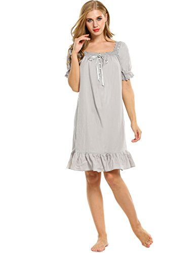 Avidlove Womens Cotton Victorian Vintage Short Sleeve White Classic  Nightgown SleepwearGray1XLarge   Details can be found c3859c4e9