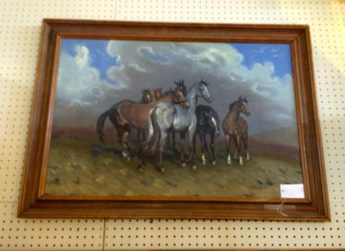 "Original Painting of Horses  By Szantu  30"" High x 40"" Wide   $225  Dealer #282  Lula B's  1010 N. Riverfront Blvd. Dallas, TX 75207  Open Daily Mon. -- Sat. 10 to 6 Sun. 12 to 6  Read more: http://dallas.ebayclassifieds.com/home-decor/dallas/original-painting-of-horses/?ad=39498774#ixzz3avxMZIZ2"