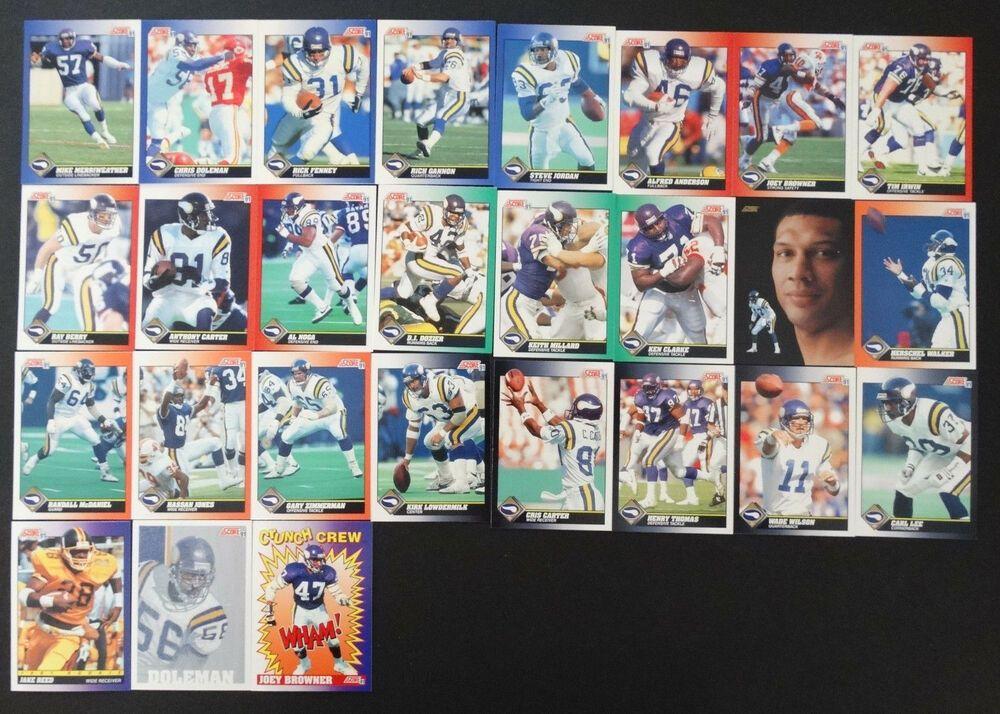1991 score minnesota vikings team set of 29 football cards