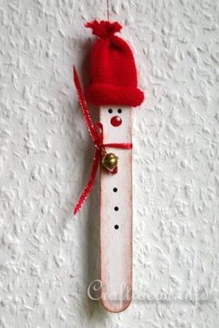Christmas Craft Idea for Kids - Craft Stick Winter Snowman 2